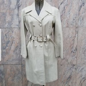 Jackets & Blazers - Vintage 1970s Gray Leather Belted Trench Coat
